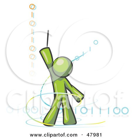 Royalty-Free (RF) Clipart Illustration of a Green Design Mascot Man Composing Binary Code by Leo Blanchette
