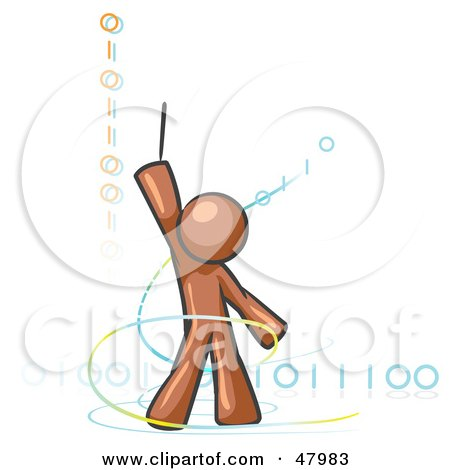 Royalty-Free (RF) Clipart Illustration of a Brown Design Mascot Man Composing Binary Code by Leo Blanchette