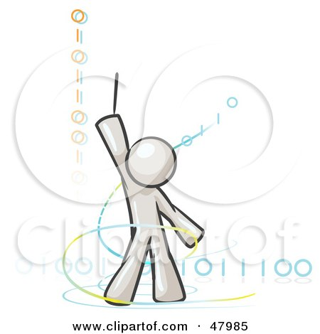 Royalty-Free (RF) Clipart Illustration of a White Design Mascot Man Composing Binary Code by Leo Blanchette