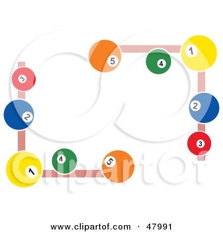 Royalty-Free (RF) Clipart Illustration of Pool Ball Corner Designs by Prawny