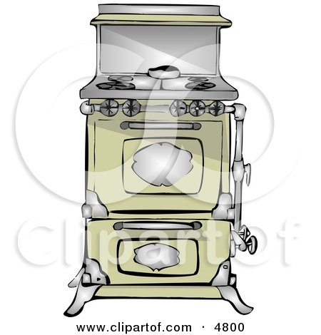 Clipart Of A Vintage Black And White Water Oven Royalty Free Vector