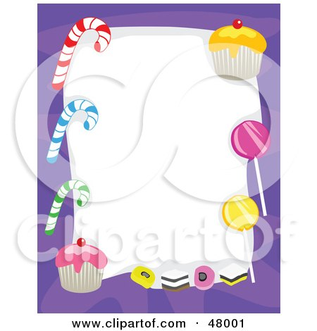 Royalty-Free (RF) Clipart Illustration of a Purple Stationery Border Of Candy Canes, Suckers And Cupcakes On White by Prawny
