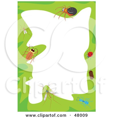 Royalty-Free (RF) Clipart Illustration of a Green Stationery Border Of Insects On White by Prawny