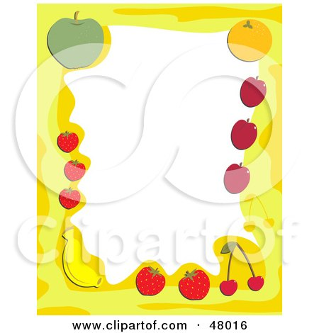 Royalty-Free (RF) Clipart Illustration of a Yellow Stationery Border Of Healthy Fruit On White by Prawny