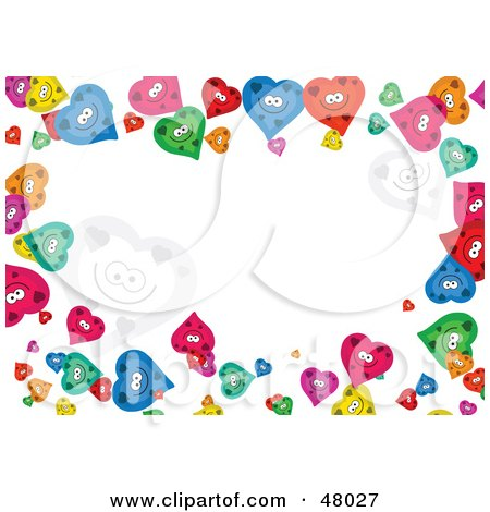 Royalty-Free (RF) Clipart Illustration of a Colorful Stationery Border Of Happy Hearts On White by Prawny