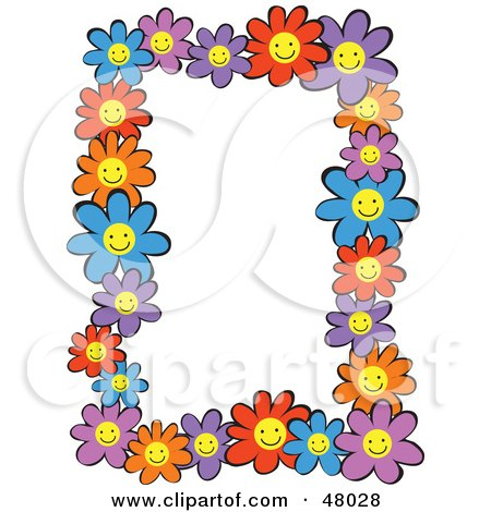Royalty-Free (RF) Clipart Illustration of a Colorful Stationery Border Of Happy Daisies On White by Prawny