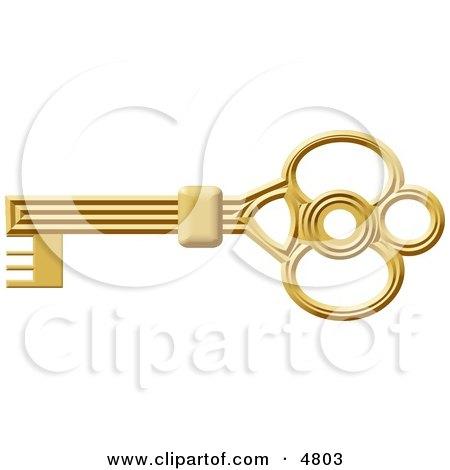 Gold Skeleton Key Clipart by djart