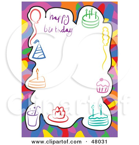 Royalty-Free (RF) Clipart Illustration of a Stationery Border Of Party Hats, Cakes And Balloons On White by Prawny