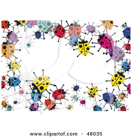 Royalty-Free (RF) Clipart Illustration of a Colorful Stationery Border Of Ladybugs On White by Prawny