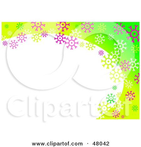 Royalty-Free (RF) Clipart Illustration of a Stationery Border Of Colorful Snowflakes On Green With Text Space by Prawny