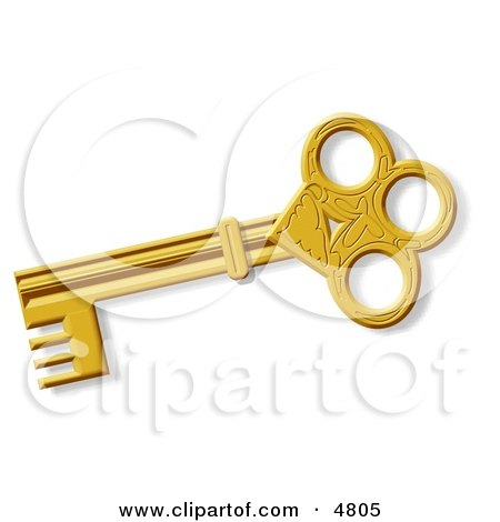 Decorative Ancient Gold Skeleton Key Clipart by djart