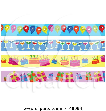 Royalty-Free (RF) Clipart Illustration of a Digital Collage Of Party Balloon, Wine, Birthday Cake And Present Borders by Prawny