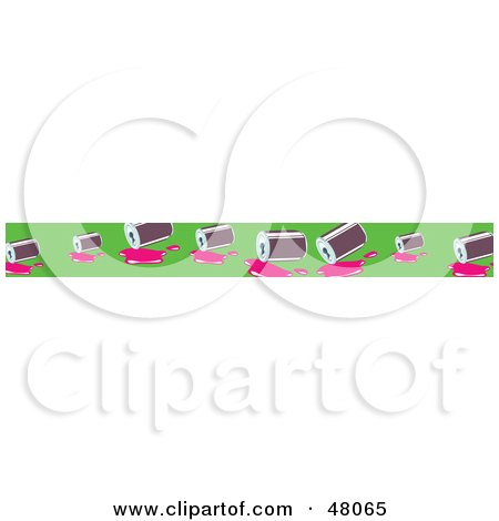 Royalty-Free (RF) Clipart Illustration of a Border Of Spilled Soda Cans On Green by Prawny