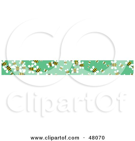 Royalty-Free (RF) Clipart Illustration of a Border of Honey Bees on Green by Prawny