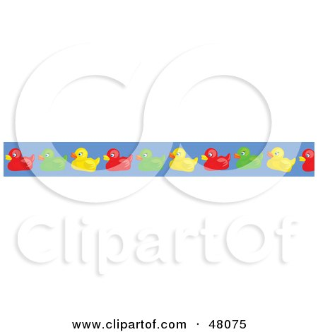 Royalty-Free (RF) Clipart Illustration of a Border Of Colorful Rubber Duckies On Blue by Prawny