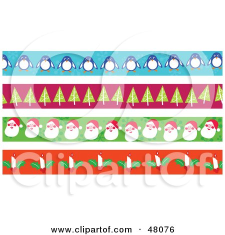 Royalty-Free (RF) Clipart Illustration of a Digital Collage Of Penguin, Christmas Tree, Santa And Candle Borders by Prawny