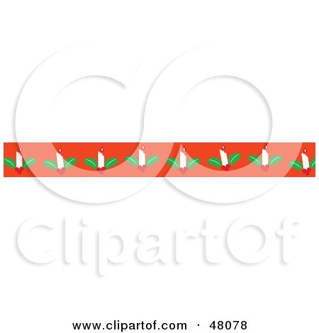 Royalty-Free (RF) Clipart Illustration of a Border Of Christmas Candles On Orange by Prawny