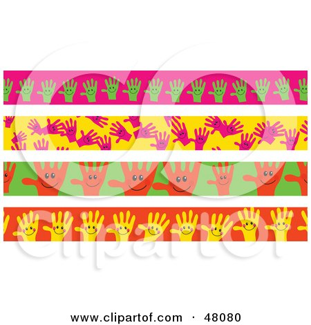 Royalty-Free (RF) Clipart Illustration of a Digital Collage Of Happy Hand Borders by Prawny
