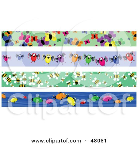 Royalty-Free (RF) Clipart Illustration of a Digital Collage Of Butterfly, Bird, Bee And Fish Borders by Prawny
