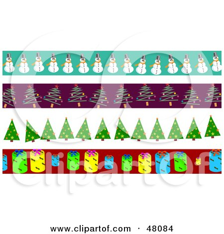 Royalty-Free (RF) Clipart Illustration of a Digital Collage Of Snowman, Christmas Tree And Tag Borders by Prawny