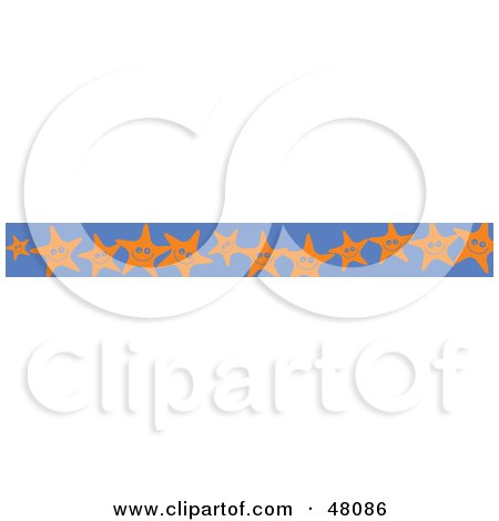 Royalty-Free (RF) Clipart Illustration of a Border Of Happy Starfish On Blue by Prawny