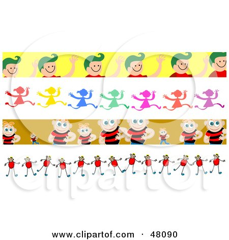 Royalty-Free (RF) Clipart Illustration of a Digital Collage of Friendly Children Borders by Prawny