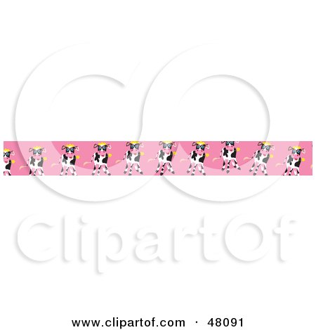 Royalty-Free (RF) Clipart Illustration of a Border Of Cows Eating Flowers On Pink by Prawny