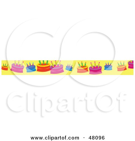 Royalty-Free (RF) Clipart Illustration of a Border Of Birthday Cakes On Yellow by Prawny