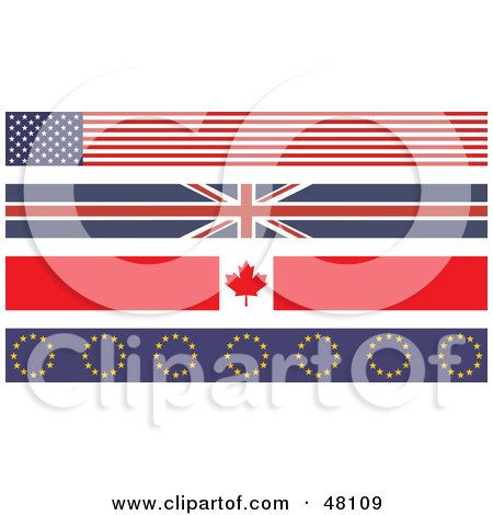 Royalty-Free (RF) Clipart Illustration of a Digital Collage Of American, Union Jack, Maple Leaf And Europe Flags by Prawny