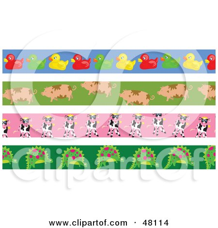 Royalty-Free (RF) Clipart Illustration of a Digital Collage Of Rubber Ducky, Pig, Cow And Dinosaur Borders by Prawny