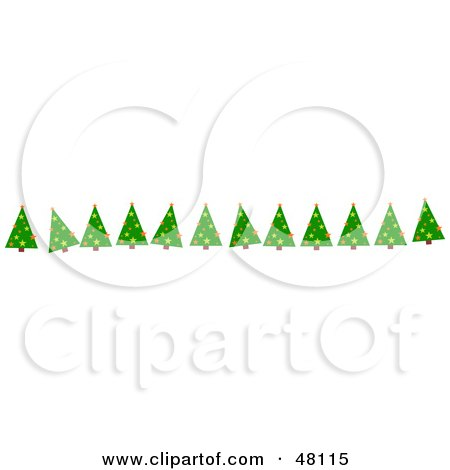 Royalty-Free (RF) Clipart Illustration of a Border Of Green Christmas Trees On White by Prawny