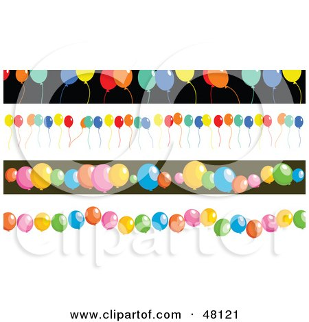 Royalty-Free (RF) Clipart Illustration of a Digital Collage Of Party Balloon Borders by Prawny