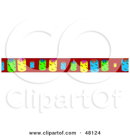 Royalty-Free (RF) Clipart Illustration of a Border Of Christmas Tags On Red by Prawny