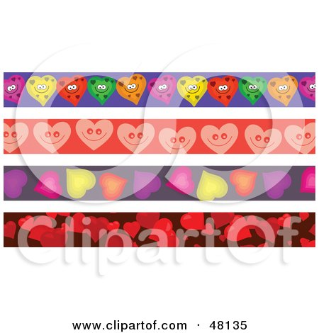Royalty-Free (RF) Clipart Illustration of a Digital Collage Of Heart Borders by Prawny