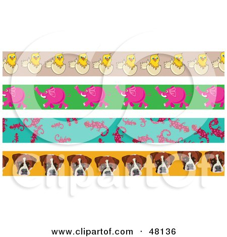 Royalty-Free (RF) Clipart Illustration of a Digital Collage Of Hatching Chicks, Elephants, Salamanders And Dogs by Prawny