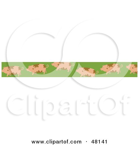 Royalty-Free (RF) Clipart Illustration of a Border Of Dirty Pigs On Green by Prawny