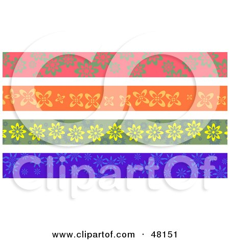Royalty-Free (RF) Clipart Illustration of a Digital Collage Of Floral Borders by Prawny