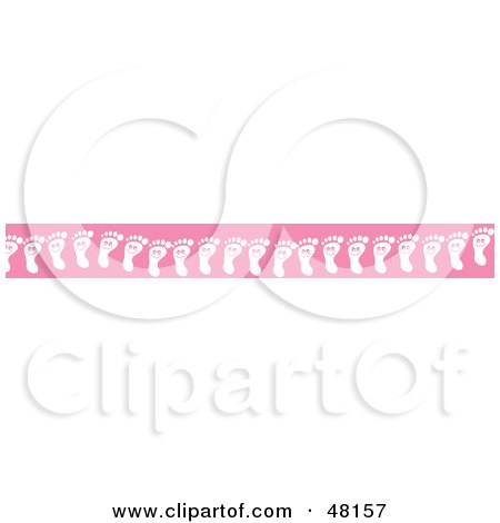 Royalty-Free (RF) Clipart Illustration of a Border Of Happy Foot Prints On Pink by Prawny