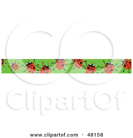 Royalty-Free (RF) Clipart Illustration of a Border Of Red Ladybugs On Green by Prawny