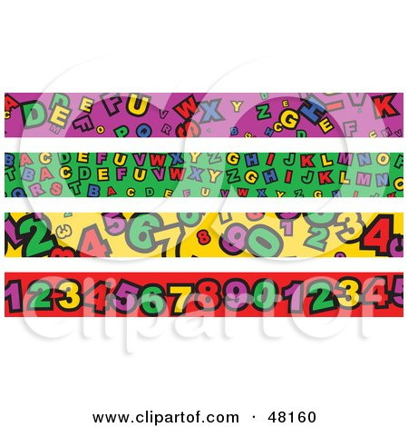 Royalty-Free (RF) Clipart Illustration of a Digital Collage Of Alphabet And Number Borders by Prawny