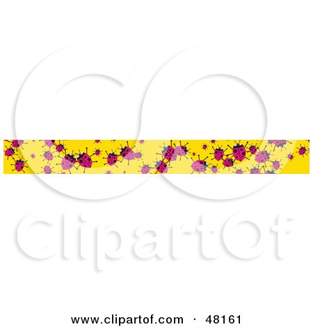 Royalty-Free (RF) Clipart Illustration of a Border Of Pink Ladybugs On Yellow by Prawny