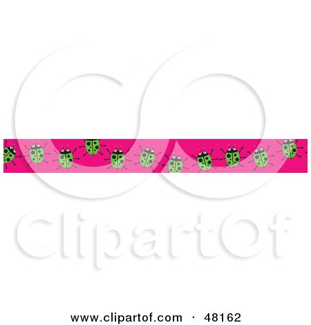 Royalty-Free (RF) Clipart Illustration of a Border Of Green Ladybugs On Pink by Prawny