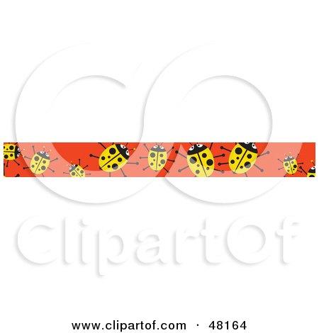 Royalty-Free (RF) Clipart Illustration of a Border Of Yellow Ladybugs On Orange by Prawny