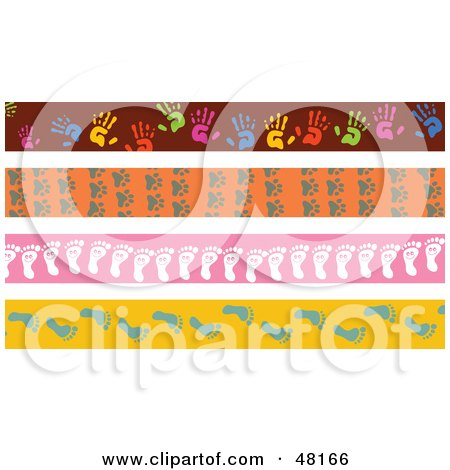 Royalty-Free (RF) Clipart Illustration of a Digital Collage Of Hand, Paw And Foot Print Borders by Prawny