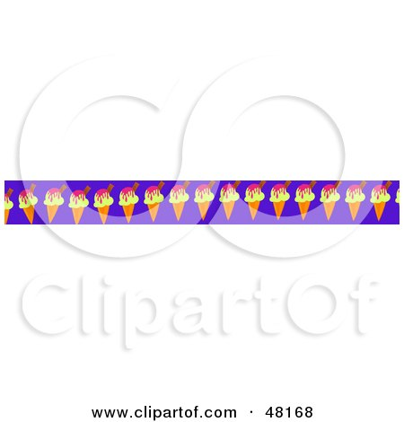 Royalty-Free (RF) Clipart Illustration of a Border Of Ice Cream Cones On Purple by Prawny