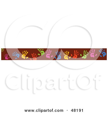 Royalty-Free (RF) Clipart Illustration of a Border Of Colorful Hand Prints On Red by Prawny