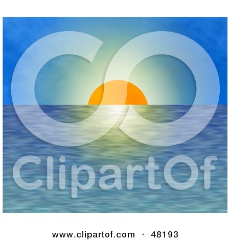 Royalty-Free (RF) Clipart Illustration of The Orange Sun Setting Over Rippling Waters Against A Blue Sky by Prawny