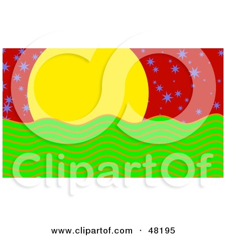 Royalty-Free (RF) Clipart Illustration of a Yellow Sun Over Green Water, With Purple Stars In A Red Sky by Prawny