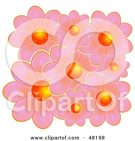 Royalty-Free (RF) Clipart Illustration of a Cluster Of Pink Flowers With Bright Orange Centers by Prawny