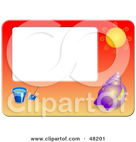 Royalty-Free (RF) Clipart Illustration of a Beach Frame With A Shell, Sun And Beach Bucket by Prawny